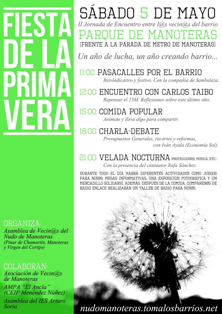 [Sábado 5 de mayo] Fiesta de la primavera en Manoteras Cartelfiesta2-724x1024